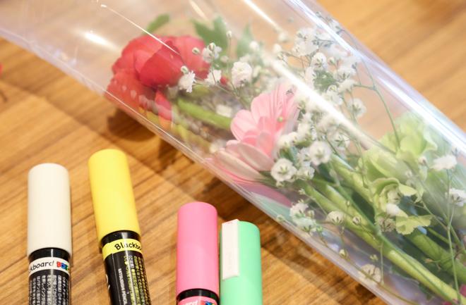 花束にメッセージを