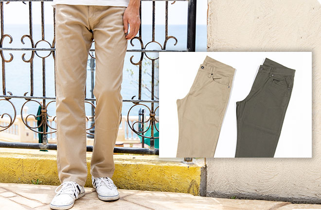 ストレッチ5ポケットチノパンツの着用写真